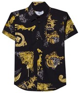 Versace Black and Gold Baroque Print Shirt
