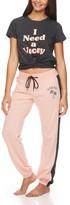 Sleep & Co Women's Sleep Bottoms DCH - Dark Charcoal 'I Need a Vacay' Tie-Hem Tee & Pink Joggers - Juniors