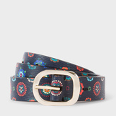 Paul Smith Women's 'Tudor Rose' Print Calf Leather Belt