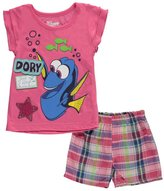 """Disney Finding Dory Little Girls' Toddler """"Just Keep Smiling"""" 2-Piece Outfit"""