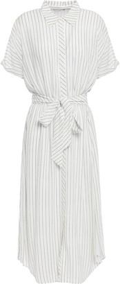 Joie Chellie Tie-front Striped Crepe De Chine Midi Shirt Dress