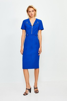 Karen Millen Zip Placket Short Sleeve Pencil Dress