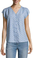 Liz Claiborne Short Sleeve V Neck Blouse - Tall