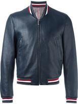 Thom Browne striped trim bomber jacket - men - Cotton/Deer Skin/Cupro - 0