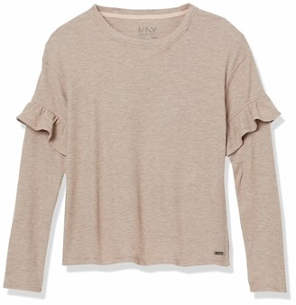 Andrew Marc Women's Long Sleeve Thermal Ruffle Top
