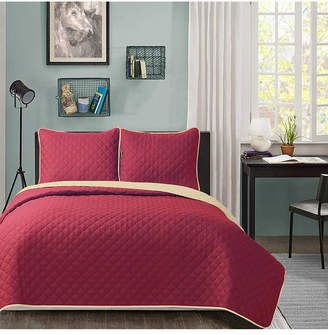 University Solid Reversible 3pc King quilt set Burgundy reverse to Tan Bedding