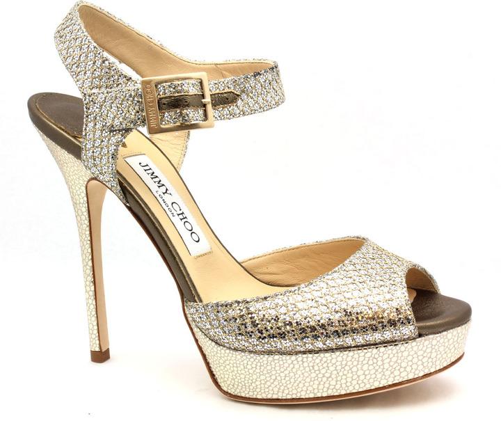 "Jimmy Choo Linda"" Champagne Glitter Platform Sandals"