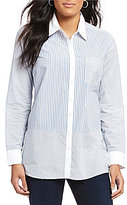 NYDJ Stripe Long Sleeve Button Front 1-Pocket Shirt