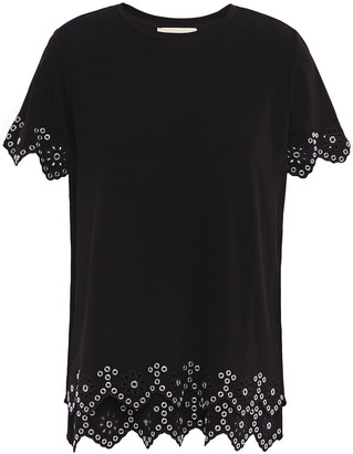 MICHAEL Michael Kors Broderie Anglaise-trimmed Jersey Top