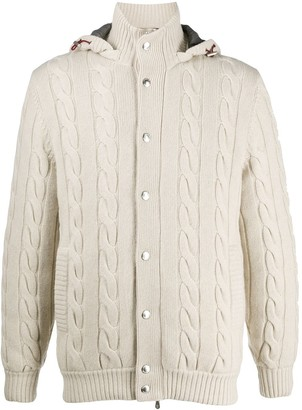 Brunello Cucinelli Hooded Cable Knit Sweater