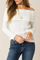 Others Follow Off Shoulder Cable Sweater