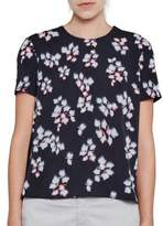 French Connection Floral Print Short Sleeved Crepe Top