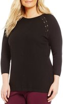 Allison Daley Plus Wide Crew Neck 3/4 Raglan Sleeve Pullover