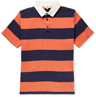 Armor Lux Twill-Trimmed Striped Cotton-Jersey Rugby Shirt