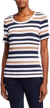 St. John Textured Stripe Short-Sleeve Jersey T-Shirt