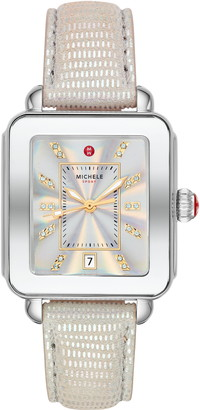 Michele Deco Diamond Sport Watch Head & Leather Strap, 34mm x 36mm