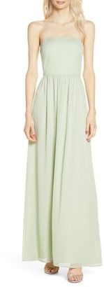 WAYF The Harlet Convertible Metallic Chiffon A-Line Gown