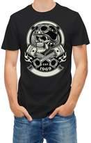Skulls Tshirt Vintage Biker Skull With Crossed Pistons M