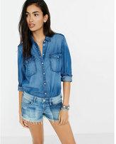 Express dark blue denim soft twill boyfriend shirt