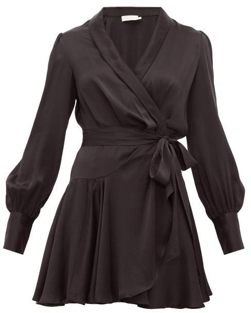 Zimmermann Super Eight Silk Wrap Mini Dress - Womens - Black