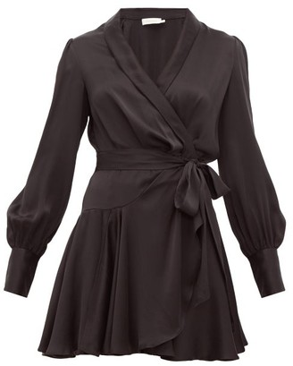 Zimmermann Super Eight Silk Wrap Mini Dress - Womens - Black