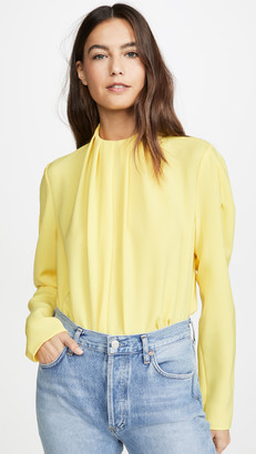 Tibi Shirred High Neck Top