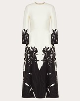 Valentino Printed Crepe Couture Dress Women Ivory/black Virgin Wool 65%, Silk 35% 40