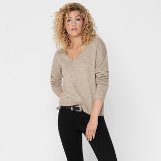 Jacqueline De Yong Brushed Knit Jumper with V-Neck