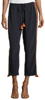 Figue Embroidered Tassel-Tie Silk Pants, Navy