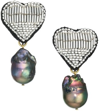 Lizzie Fortunato French Heart Goldplated, Freshwater Pearl & Beaded Clip-On Drop Earrings