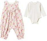 Emile et Rose 2 Piece Floral Corduroy Dungarees and Body Set