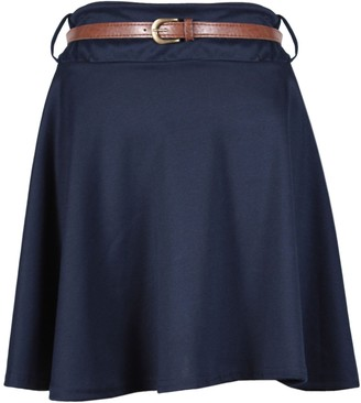 Purple Hanger Womens Plain Waist Detachable Belted Ladies Stretch Flared Flippy Short Skater Jersey Mini Skirt Navy Blue Size 16 - 18 (L/XL)