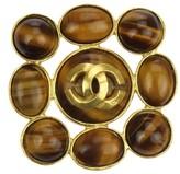 Chanel CC Logo Gold Tone Metal Brown Tiger Eye Brooch
