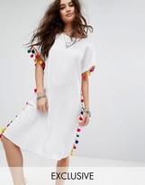Reclaimed Vintage Inspired Caftan Dress With V Back & Pom Pom Trim