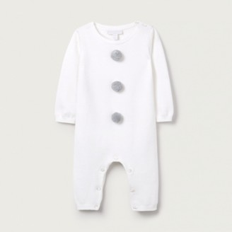 The White Company Snowman Knitted Romper, White, 6-9mths