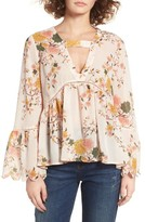 Sun & Shadow Women's Floral Print Bell Sleeve Blouse