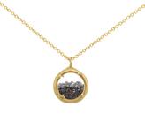 Catherine Weitzman Mini Crystal Gem Shaker Round Pendant Necklace