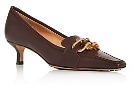 Bottega Veneta Women's Square Toe Kitten-Heel Loafers