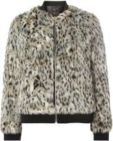 Animal Faux Fur Bomber Jacket