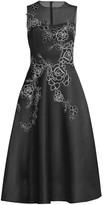Teri Jon By Rickie Freeman Embroidered Sleeveless A-Line Dress