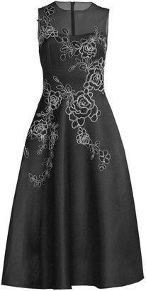 Teri Jon By Rickie Freeman Embroidered Sleeveless A-Line Dress