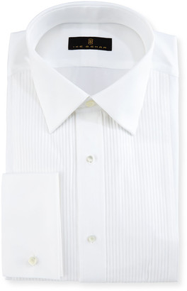 Ike Behar Gold Label Pleated-Bib Tuxedo Shirt, White