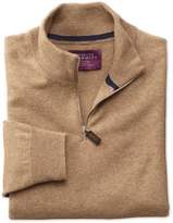 Charles Tyrwhitt Tan Cashmere Zip Neck Sweater Size Large