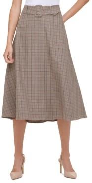 Tommy Hilfiger Plaid Belted Skirt
