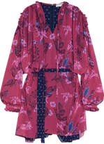 Balenciaga Flou Ruffled Printed Georgette Dress - Pink