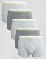 Asos Trunks 5 Pack With Neon Stripe Waistband