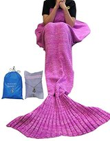 Mofang Family 71x35-Inch Mermaid Tail Quilt Blanket with Washing Bag and Carry Pouch, Pink