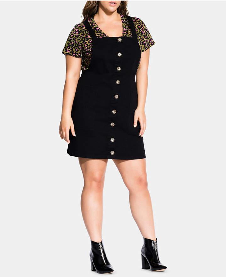 Trendy Plus Size Overall Mini Dress