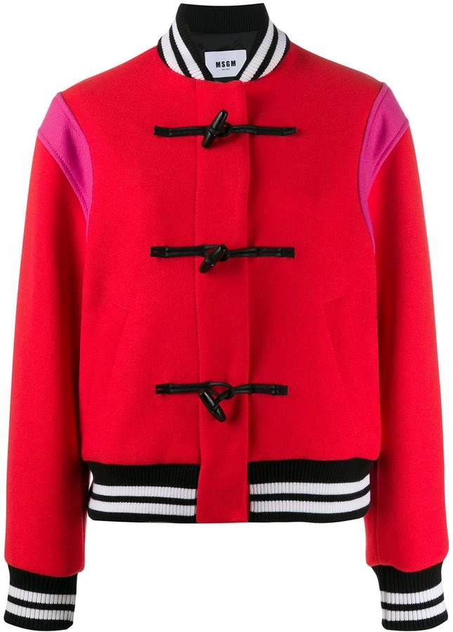 dd7fd7865 colour-block toggle bomber jacket