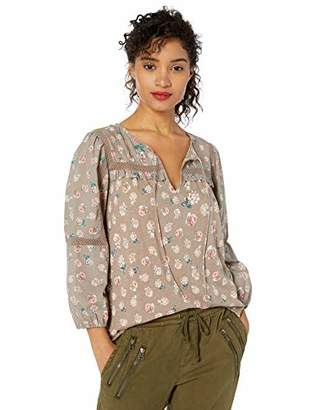 Lucky Brand Women's Sleeve Floral Printed Peasant Top